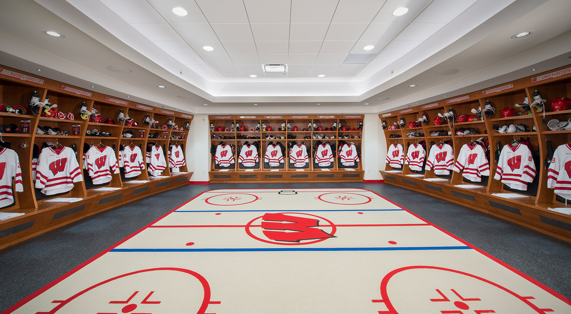 LaBahn ice hockey arena locker room for Wisconsin Badgers at University of Wisconsin-Madison
