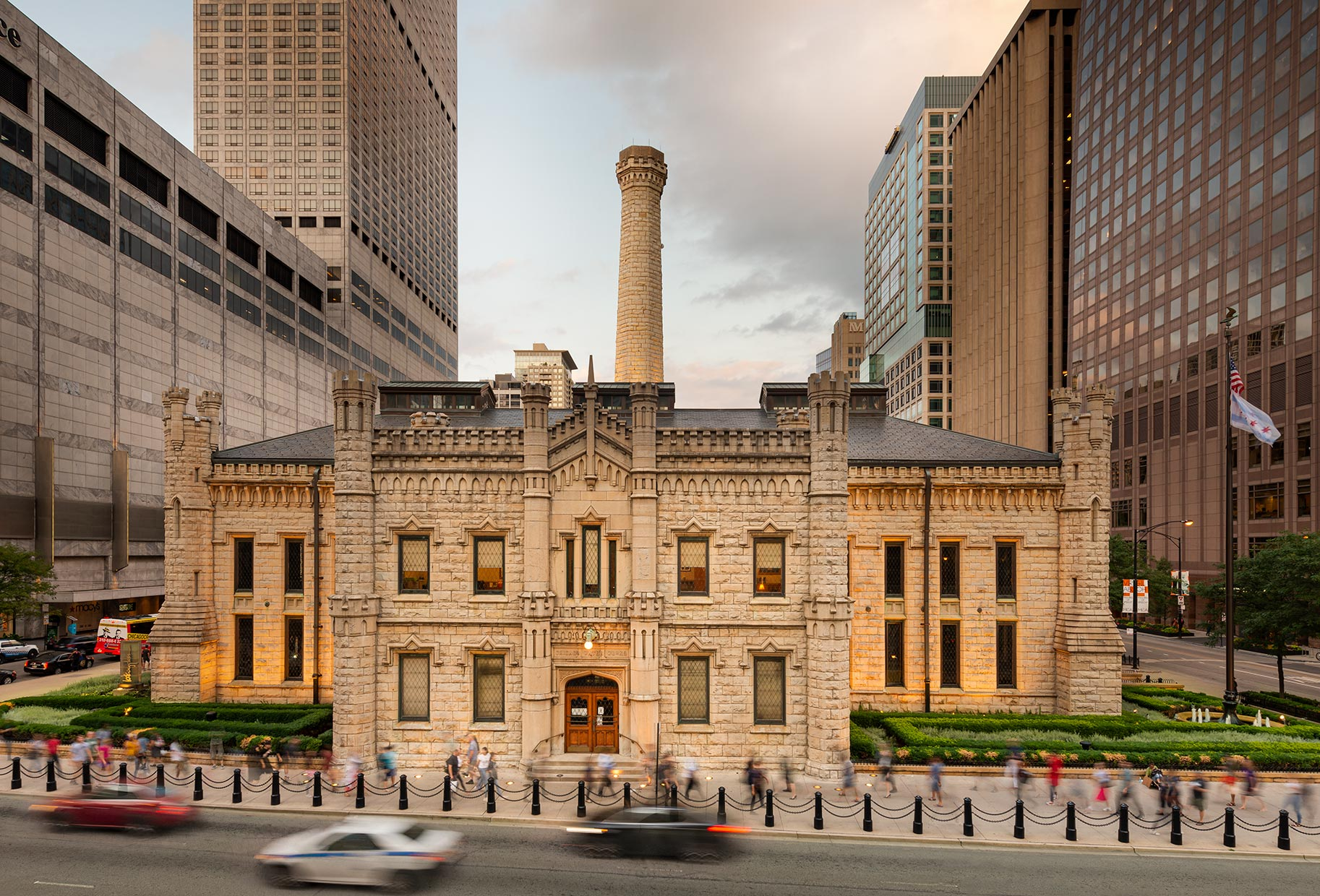 Historic Water Tower Pumping Station on Michigan Avenue in downtown Chicago